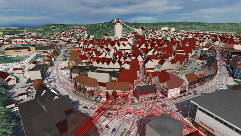 Herrenberg 3D Basis-Modell mit GPS Tracks